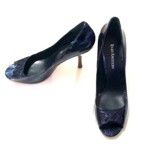 《Enzo Angiolini》Blue Peep Toe Heels 7.5 Crackle